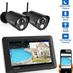 """CasaCam VS802 Wireless Security Camera System with AC Powered HD Nightvision Cameras and 7"""" Touchscreen Monitor (2-cam kit)"""