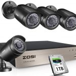 ZOSI 8Channel Security Cameras System 4-in-1 1080N DVR Recorder with 1TB Hard Drive and (4) 1280TVL 1.0MP 720P Weatherproof CCTV Cameras with Night Vision, Motion Alert, Smartphone, PC Remote Access